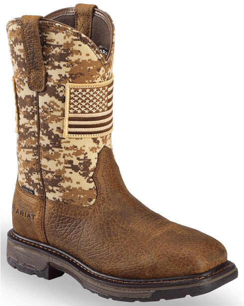 Ariat Men's Brown Workhog Patriot Western Boots - Steel Toe , Brown, hi-res