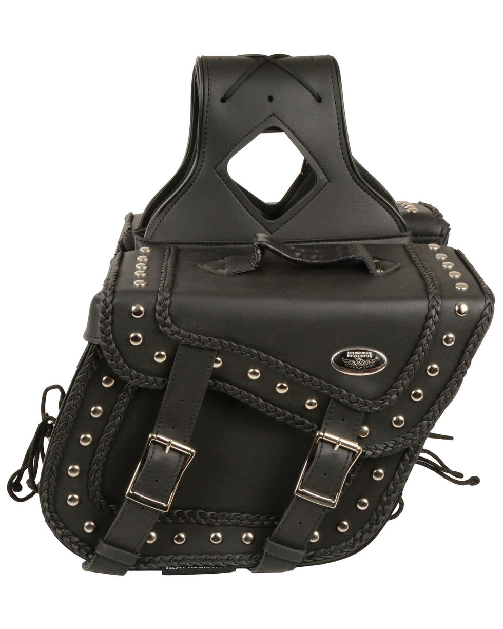 Milwaukee Leather Medium Braided Zip-Off PVC Throw Over Saddle Bag with Studs, Black, hi-res