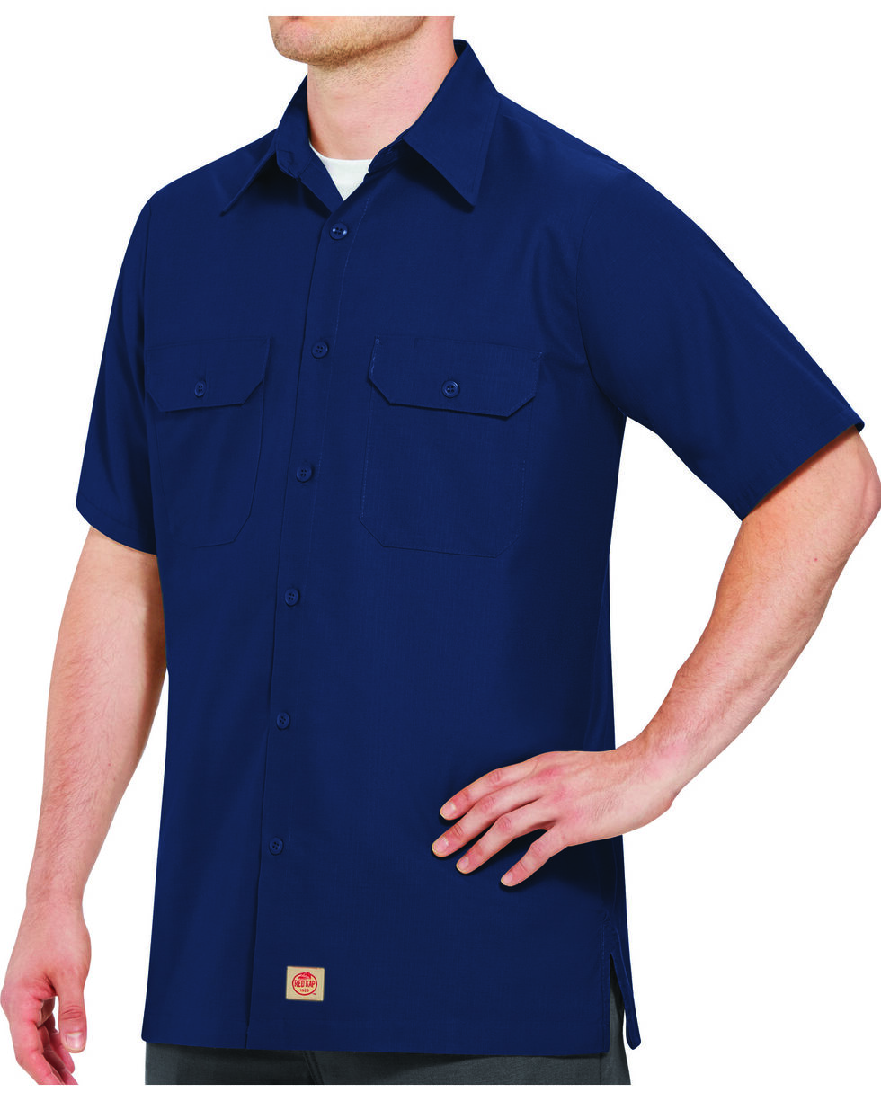 Red Kap Men's Navy Rip Stop Short Sleeve Work Shirt - Big & Tall , , hi-res