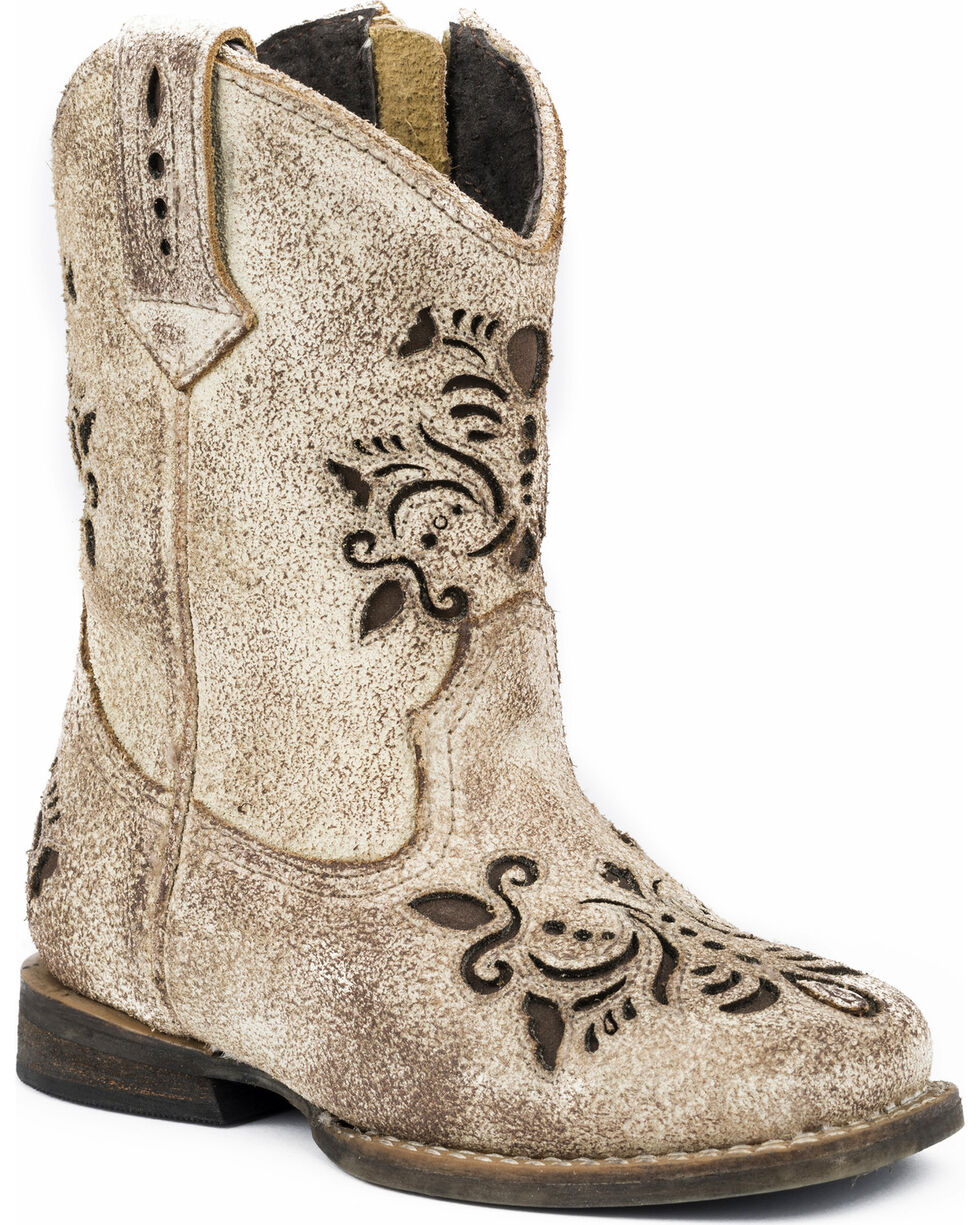 Roper Toddler Girls' Belle Floral Filigree Cutout Cowgirl Boots - Round Toe, Tan, hi-res