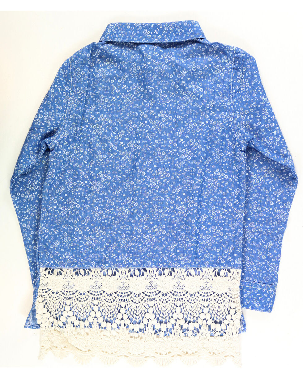 Shyanne Girls' Printed Chambray with Lace Back Long Sleeve Shirt  , Blue, hi-res