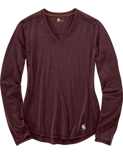 Carhartt Women's Force Ferndale Long Sleeve T-Shirt , Medium Brown, hi-res