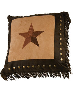 HiEnd Accents Embroidered Star with Metal Studs & Fringe Pillow, Tan, hi-res