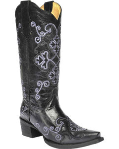 Circle G Women's Embroidered Cowgirl Boots - Snip Toe, Black, hi-res