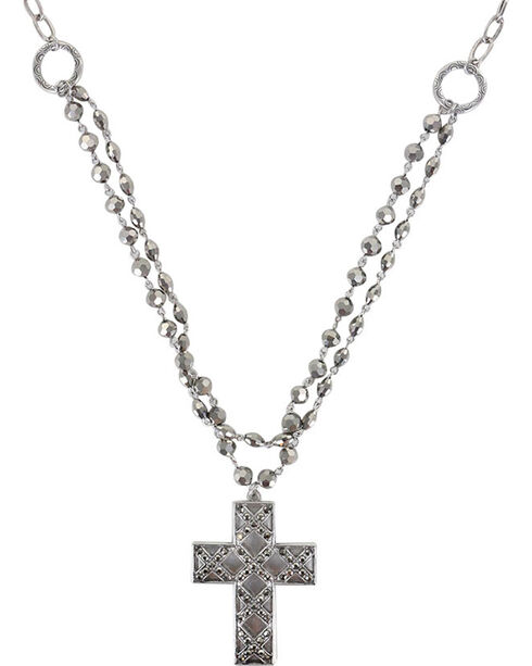 Shyanne Women's Cross Necklace, Silver, hi-res