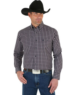 Wrangler George Strait Men's Wine Plaid Shirt, Wine, hi-res
