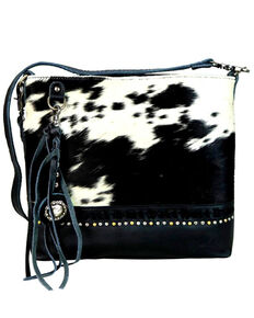 Montana West Women's Delila Black Genuine Leather Hair-On Crossbody Bag, Black, hi-res