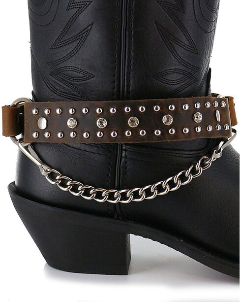 Almax Women's Studded Leather Boot Bracelet , Brown, hi-res