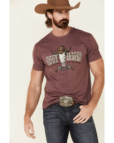 Cody James Men's Burgundy Wild West Graphic Short Sleeve T-Shirt , Burgundy, hi-res