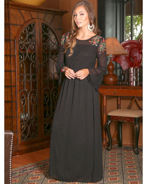 Wrangler Women's Black Maxi Mesh Dress , Black, hi-res