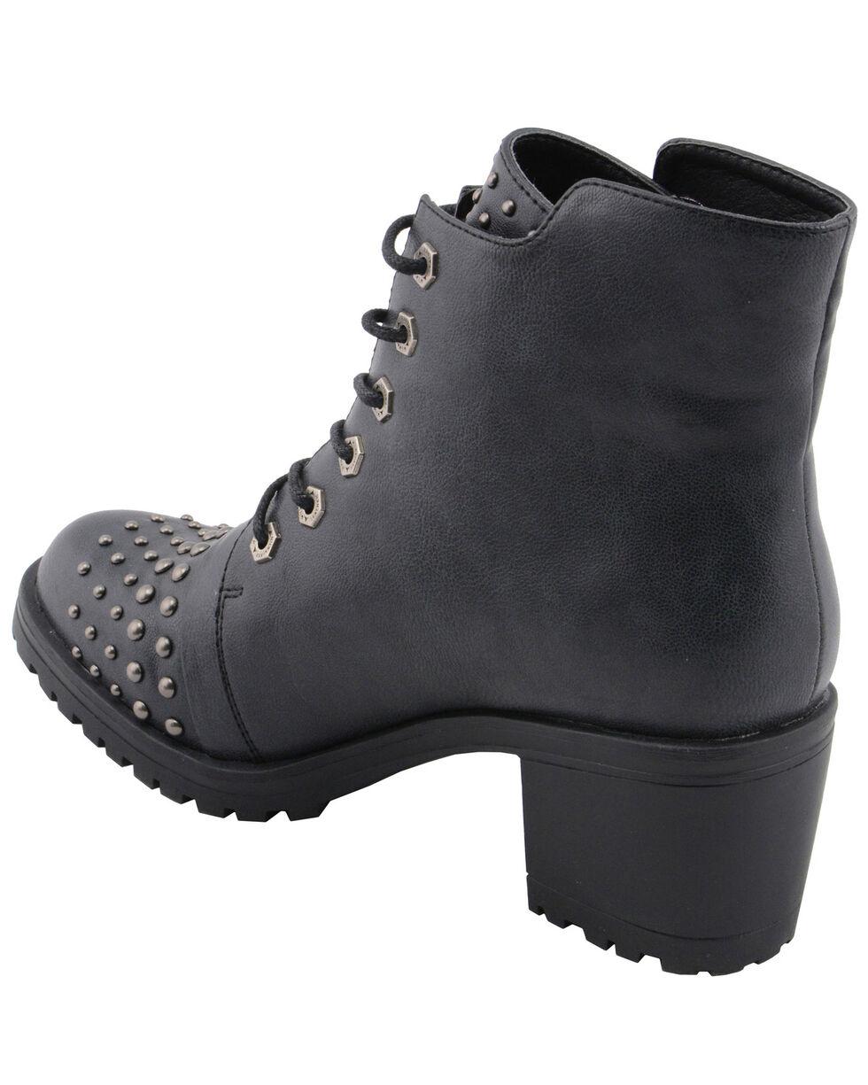 Milwaukee Leather Women's Studded Rocker Boots - Round Toe, Dark Grey, hi-res
