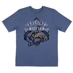 Wrangler Boys' American Western Short Sleeve T-Shirt, Blue, hi-res