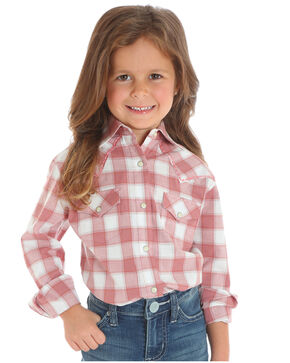Wrangler Girls' Pink Classic Plaid Shirt , Pink, hi-res