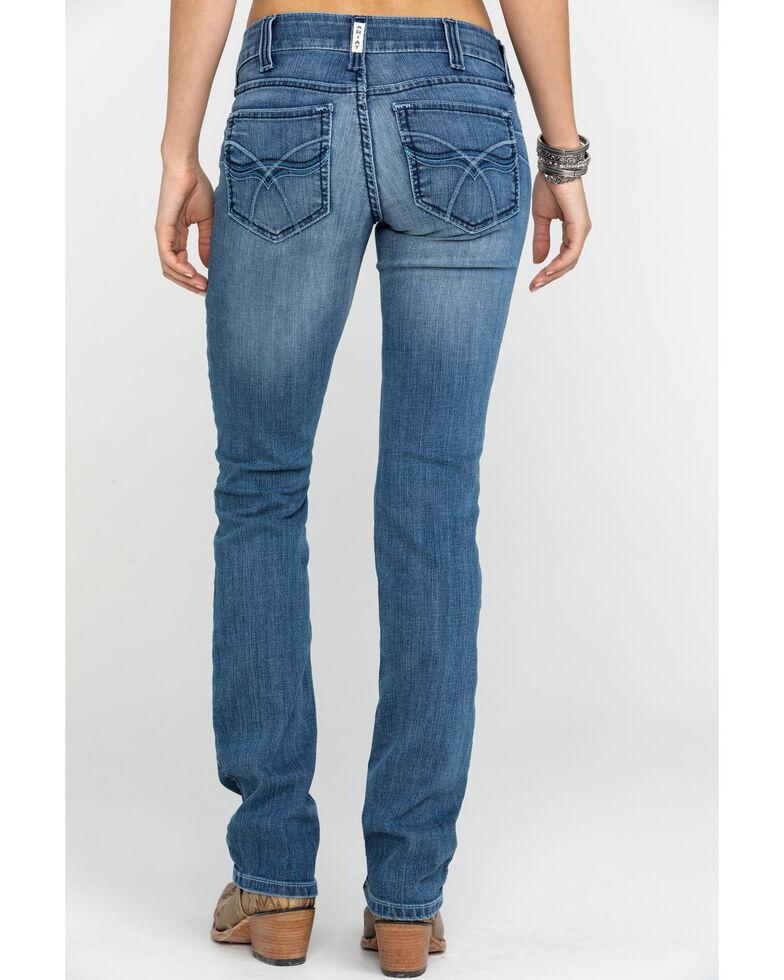 Ariat Women's R.E.A.L Celine Mid Rise Straight Jeans , Blue, hi-res
