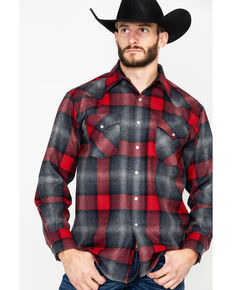 Pendleton Men's Canyon Plaid Long Sleeve Western Flannel Shirt , Black/red, hi-res