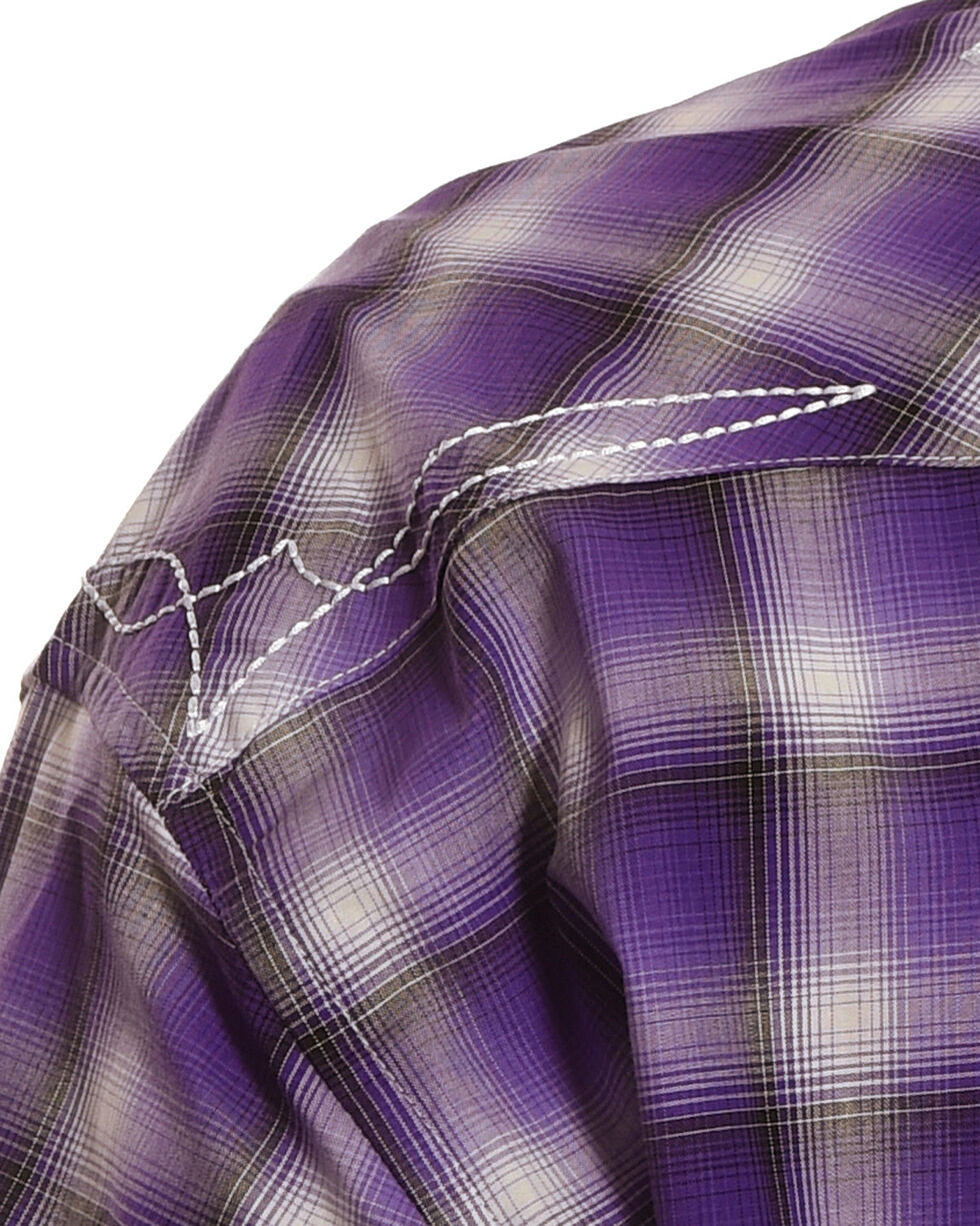 Wrangler Men's Purple Plaid Logo Shirt , Purple, hi-res