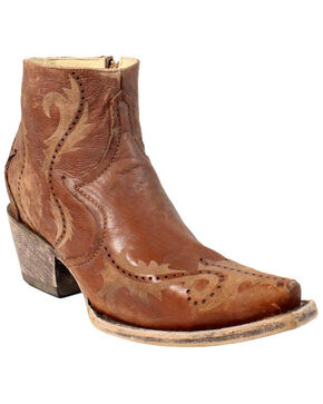 Corral Women's Brown Perforated Ankle Boots - Snip Toe , Brown, hi-res