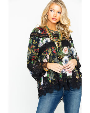 Miss Me Women's Floral Print Scalloped Lace Hem Top , Black, hi-res
