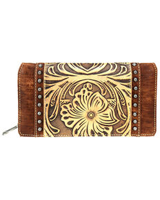 Trinity Ranch Women's Tooled Leather Wallet, Brown, hi-res