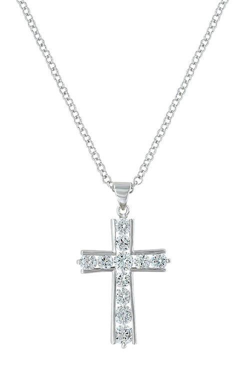 Montana Silversmiths Women's Round Brilliance Cross Necklace , Silver, hi-res