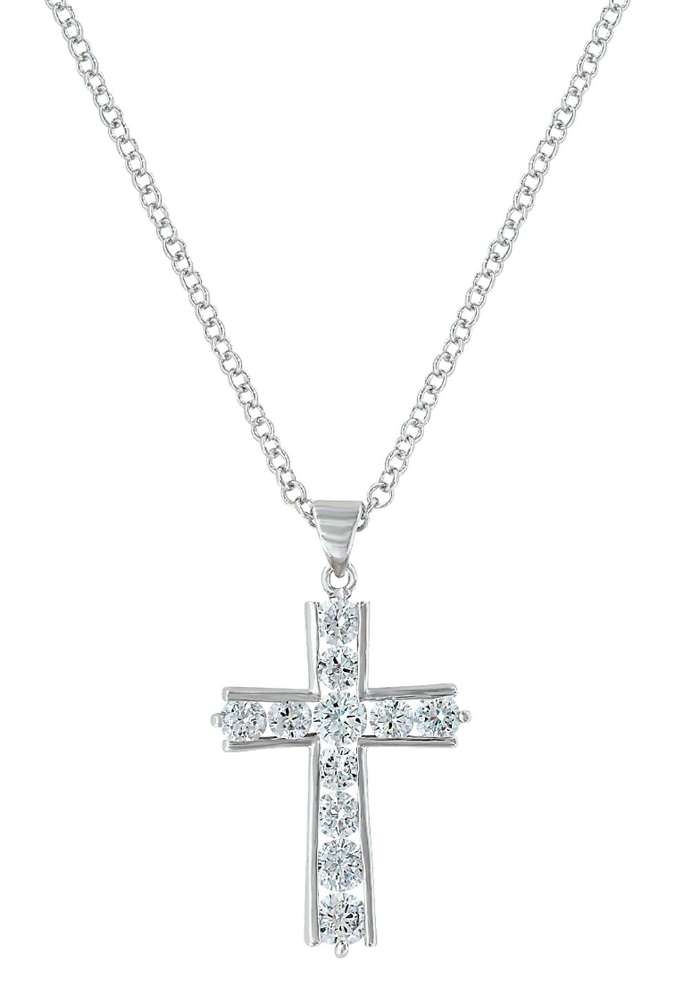 Montana Silversmiths Women's Round Brilliance Cross Necklace , Silver, hi-res