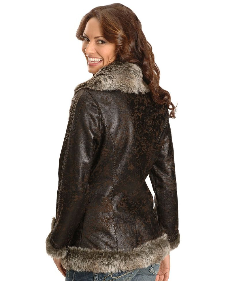 Scully Women's Faux Leather & Fur Jacket, Dark Brown, hi-res