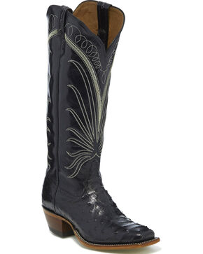 Tony Lama Women's Black Full Quill Ostrich Cowgirl Boots - Square Toe, Black, hi-res