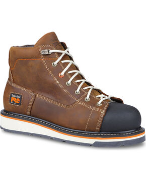 "Timberland Men's Pro Gridworks 6"" Work Boots - Soft Toe , Brown, hi-res"