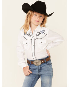 Ely Walker Girls' White Floral Embroidery Long Sleeve Snap Western Shirt , White, hi-res