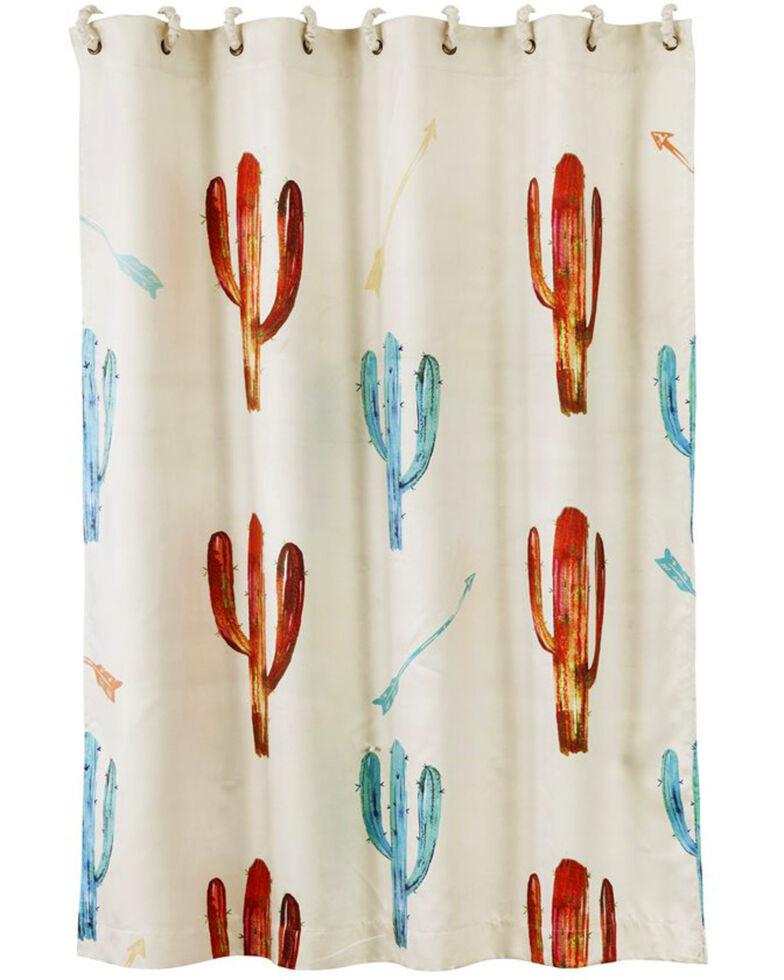 HiEnd Accents Cream Printed Cactus Shower Curtain Hi Res