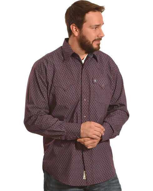 Stetson Men's Wine Geometric Print Long Sleeve Snap Shirt, Wine, hi-res
