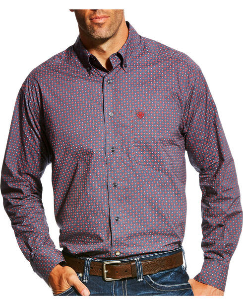 Ariat Men's Anniston Print Long Sleeve Button Down Shirt, Blue, hi-res