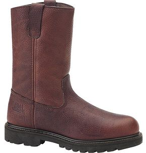 Caterpillar Colt Pull-On Work Boots - Steel Toe, Earth, hi-res
