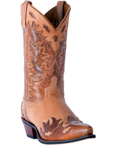 Laredo Men's Nash Wingtip Collar Overlay Cowboy Boots - Snip Toe, Tan, hi-res