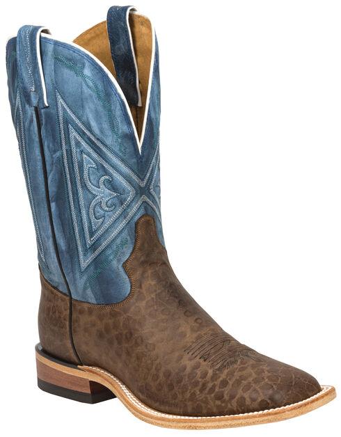 Tony Lama Chocolate Reverse Quill Print Americana Cowboy Boots - Square Toe , , hi-res