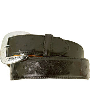 Tony Lama Ostrich Print Leather Belt - Reg & Big, Black, hi-res