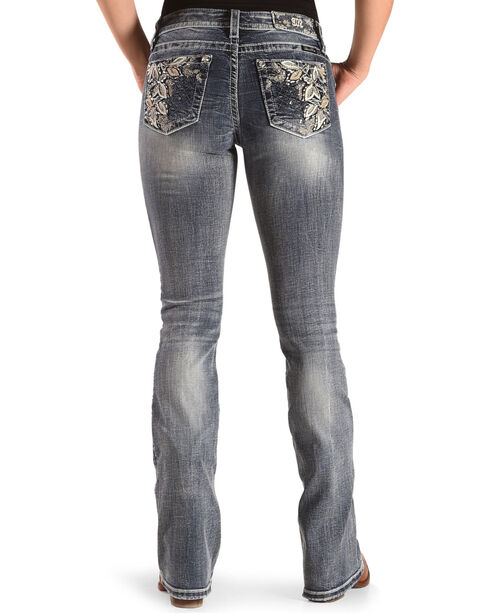 Miss Me Women's Blue Floral Embroidered Pocket Jeans - Boot Cut , Blue, hi-res