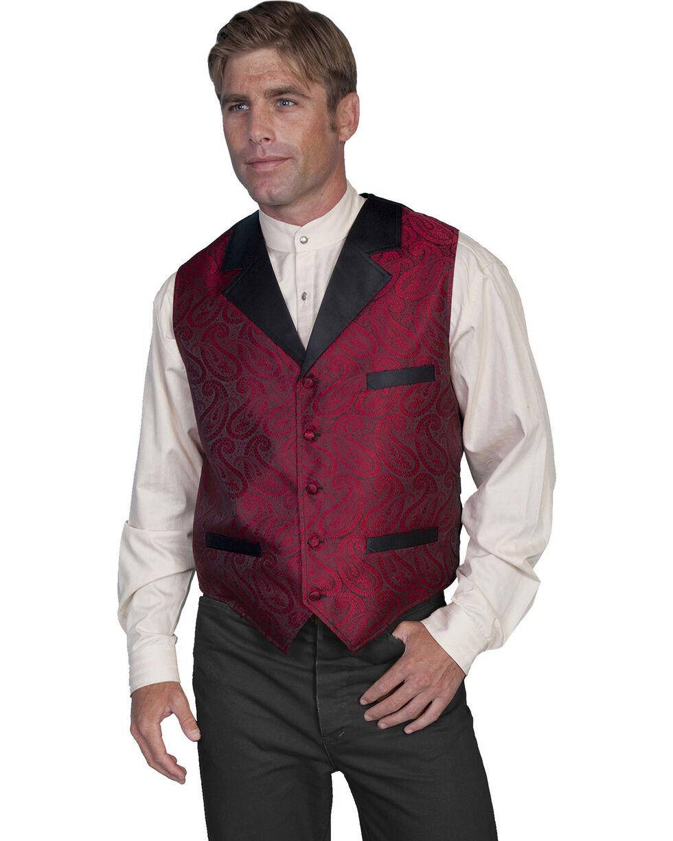 Rangewear by Scully Paisley Print Solid Lapel Vest, Red, hi-res