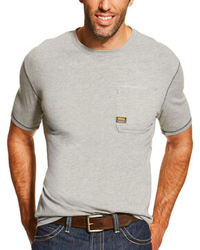 Ariat Men's Rebar Crew Short Sleeve Shirt, Heather Grey, hi-res