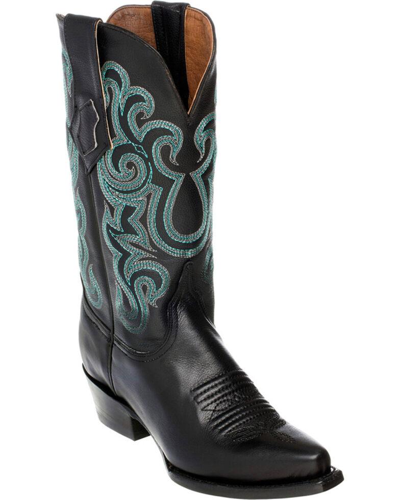 Ferrini French Calf Leather Pearl Cowgirl Boots - Snip Toe, Black, hi-res