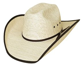Bullhide Kids' Woven Straw Banded Brim Cowboy Hat, Tan, hi-res