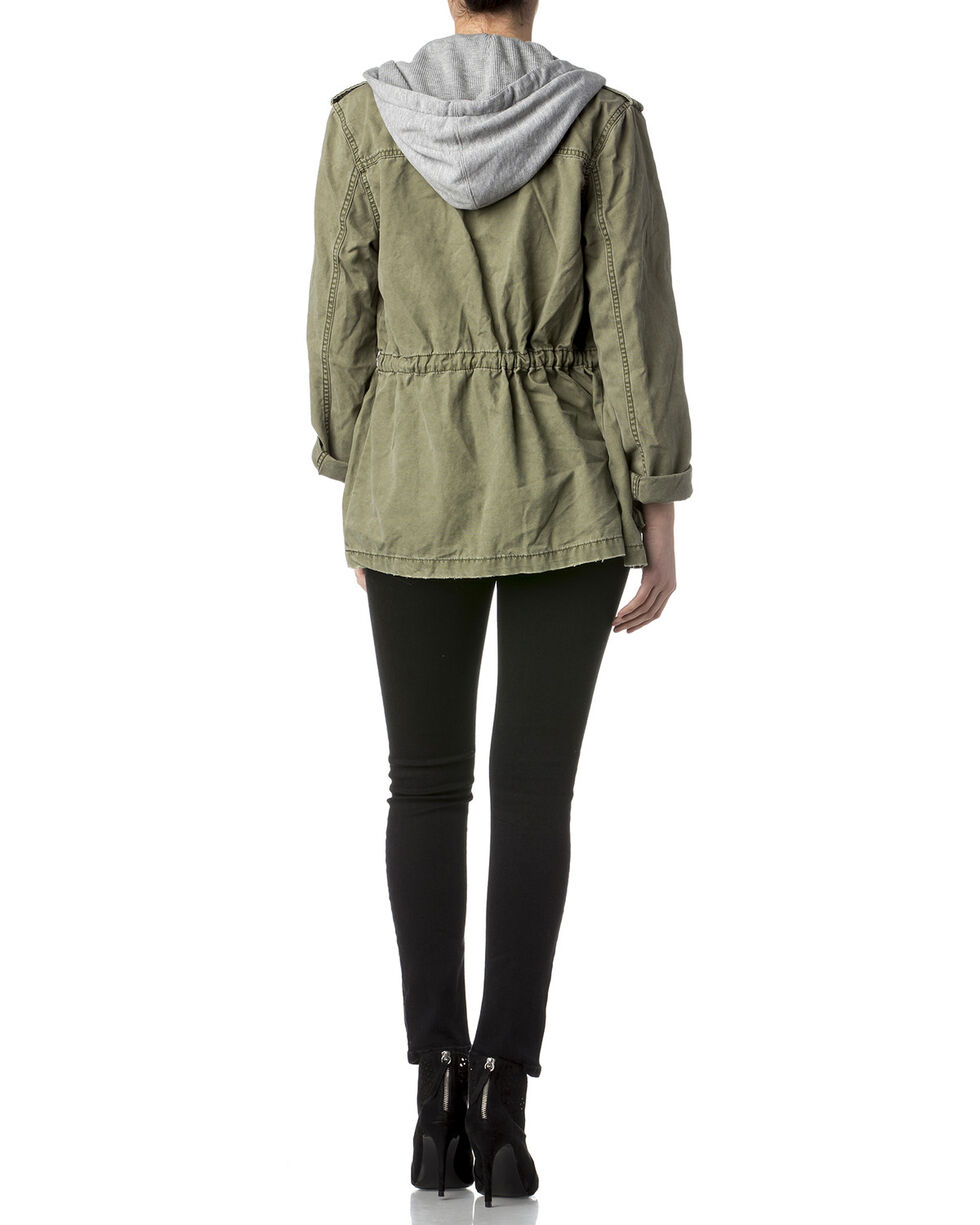 Miss Me Women's Olive Army Hooded Utility Jacket , Olive, hi-res