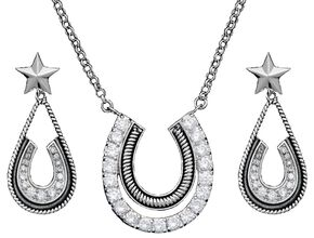 Montana Silversmiths Cubic Zirconia Horsehoe Pendant Necklace & Earrings Set, Silver, hi-res