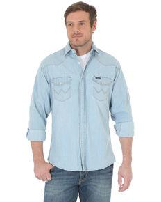 Wrangler Men's Solid Cowboy Cut Long Sleeve Western Shirt - Tall , Light Blue, hi-res