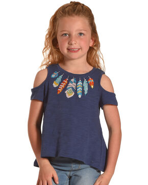Idol Mind Girls' Blue Feather Cold Shoulder Tee, Blue, hi-res