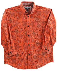 Panhandle Boys' Rust Medallion Print Long Sleeve Western Shirt , Rust Copper, hi-res