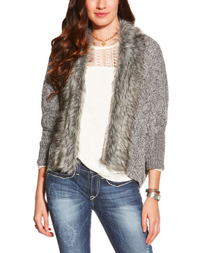 Ariat Women's Grey Fur Trim Cardigan Sweater , Grey, hi-res