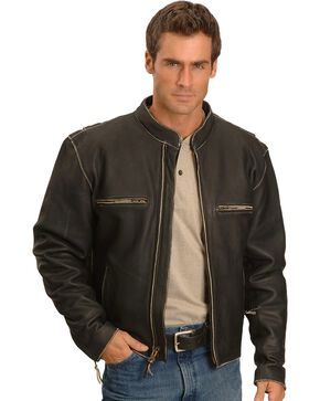 Milwaukee Motorcycle Crazy Horse Leather Jacket, Black, hi-res