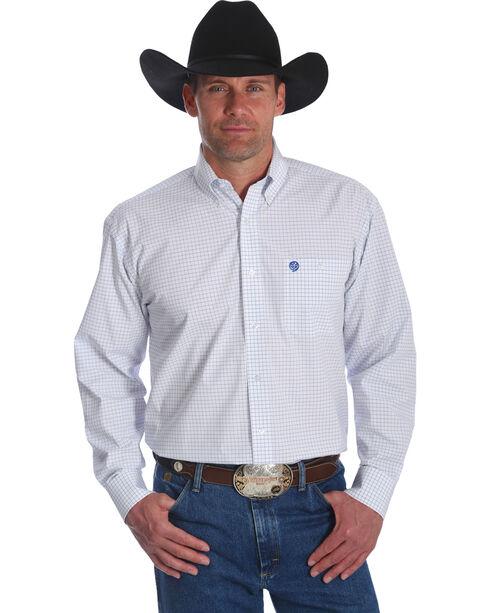 Wrangler George Strait Men's White Plaid Button Down Shirt, White, hi-res