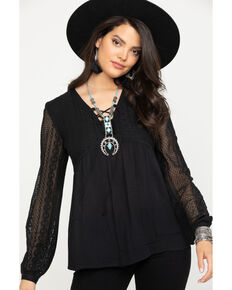 Roper Women's Black Peasant Blouse , Black, hi-res